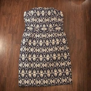 Ikat Print Navy Blue and White Strapless dress